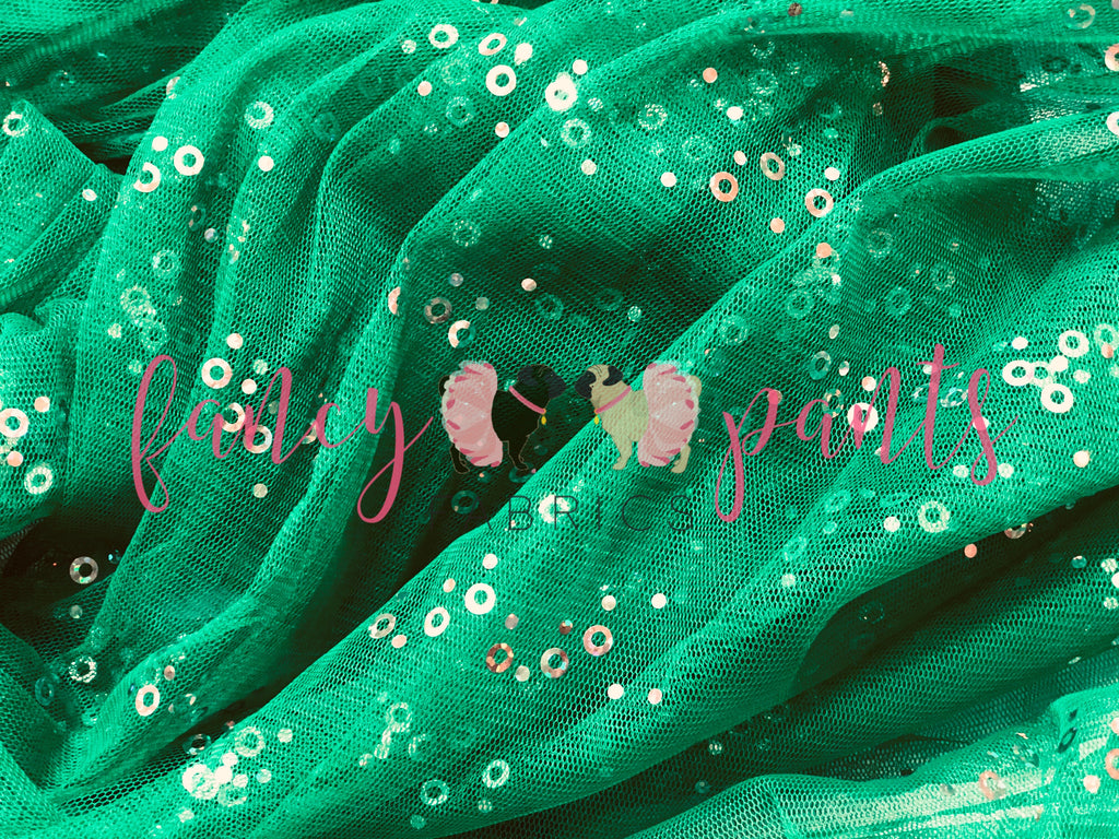Holiday Green Iridescent Sequin Mesh
