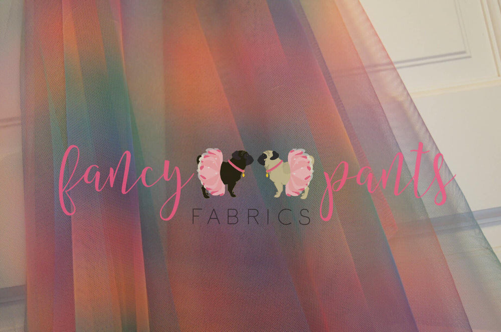 80's Unicorn- Rainbow Mesh Tulle - Fancy Pants Fabrics