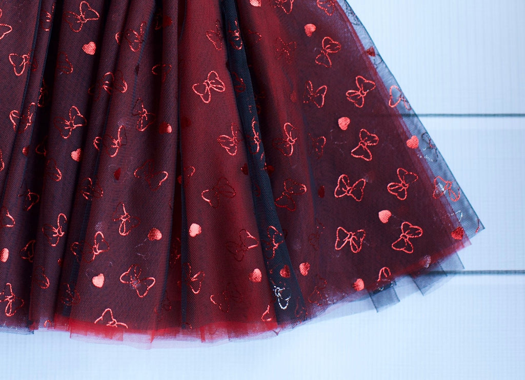 Black with Red Foil Bows Mesh Tulle - Fancy Pants Fabrics