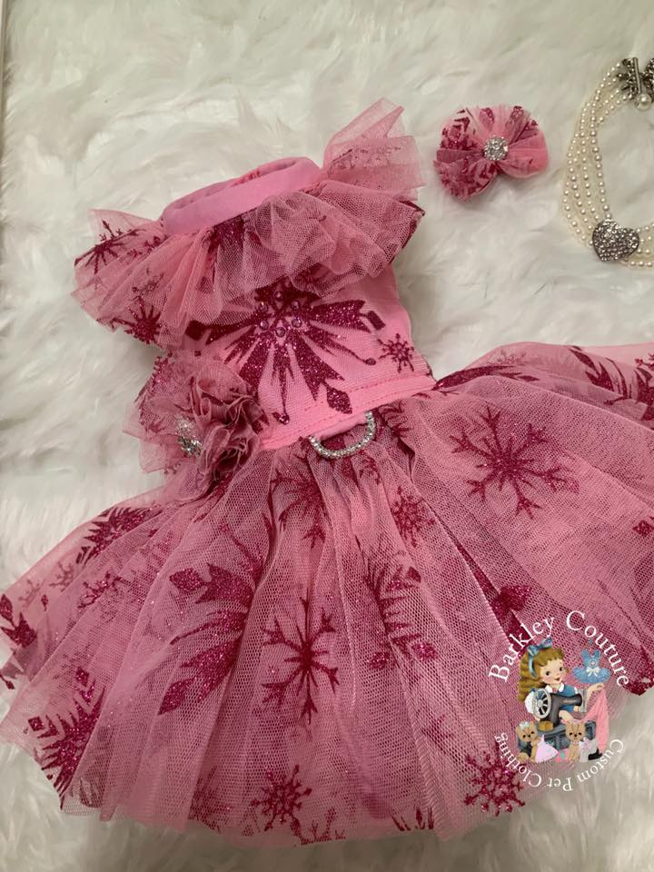 Pink Glitter Snowflake on Pink Mesh - ************PRE-ORDER****** - Fancy Pants Fabrics