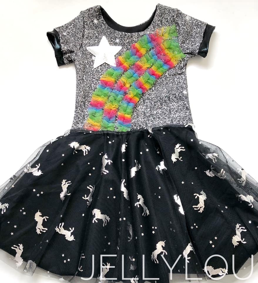 Black Unicorns and Stars Foil Mesh