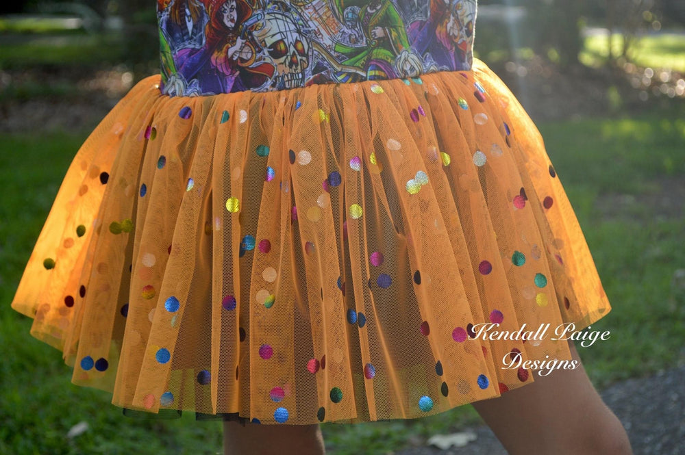 Orange Rainbow Confetti Dot Mesh