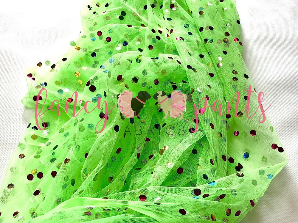 Lime Green Rainbow Confetti Dot Mesh