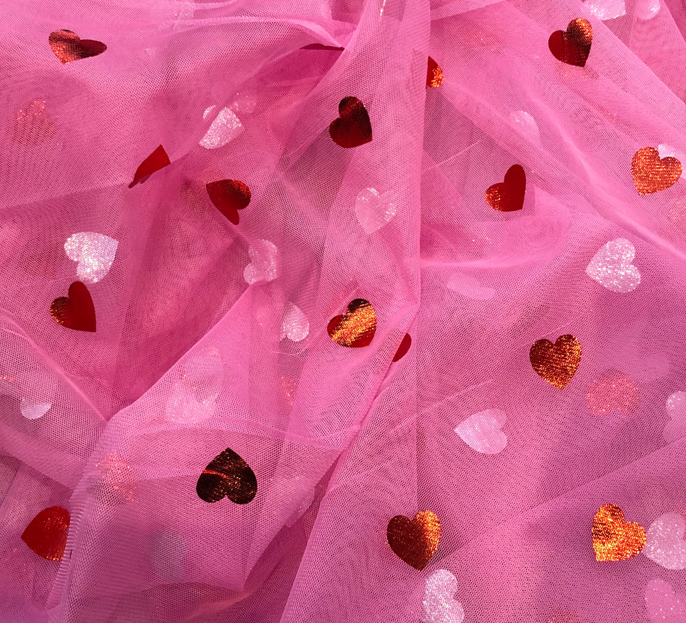 Red Hearts on Pink - Fancy Pants Fabrics