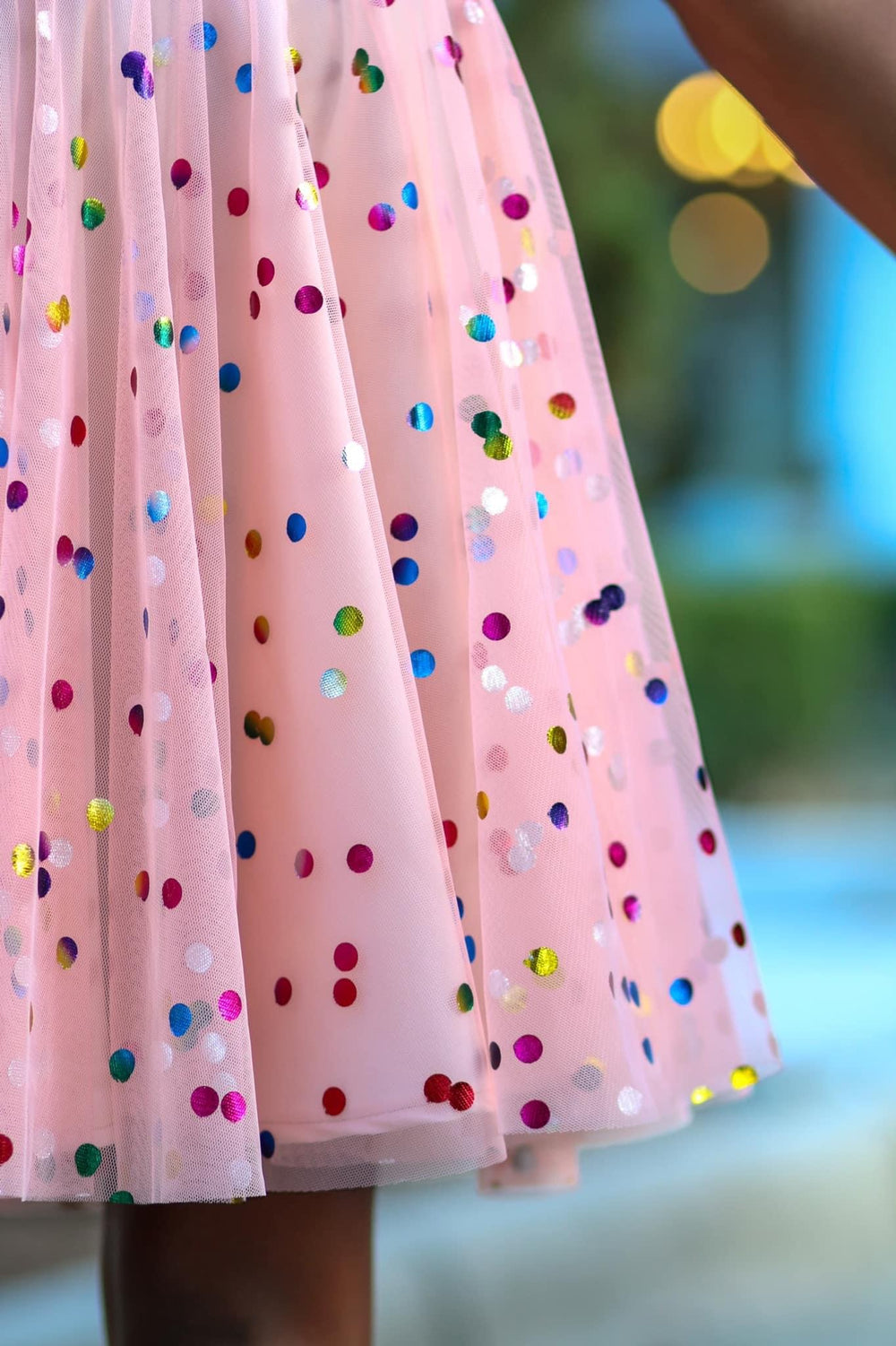 Peach Rainbow Confetti Dot Mesh