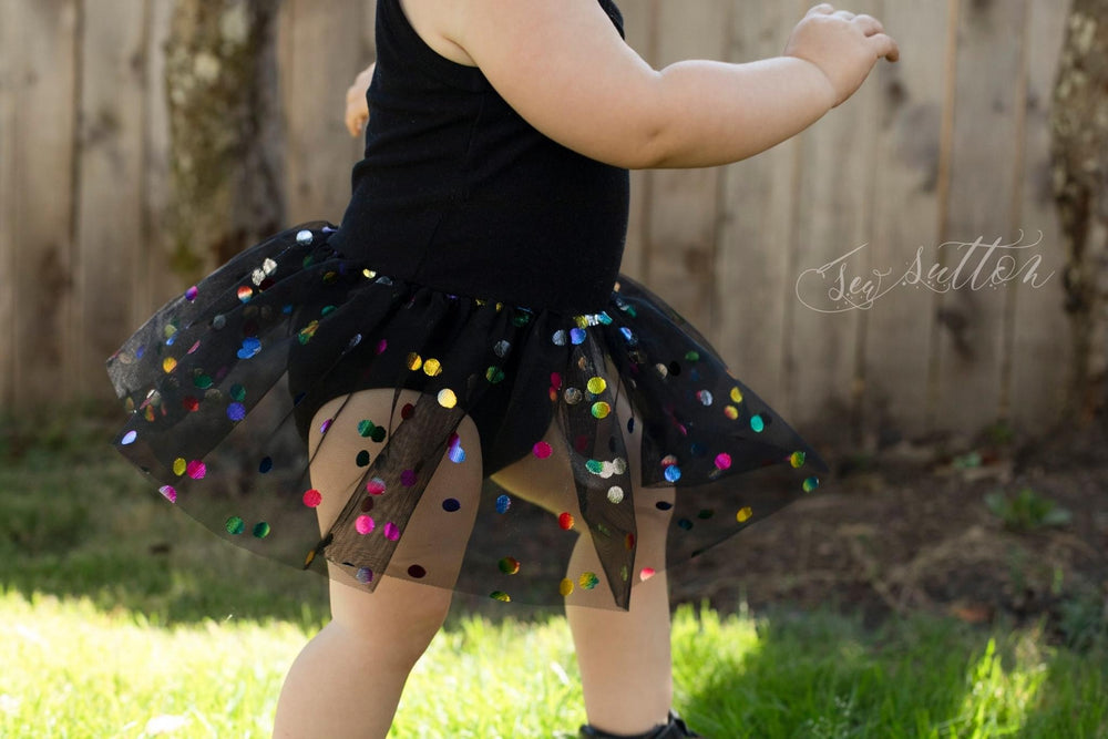 Black Rainbow Confetti Dot Mesh