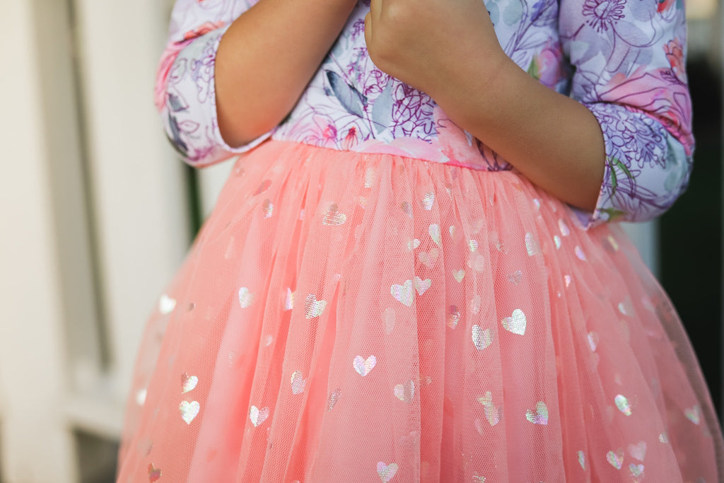 Peach Iridescent Heart Mesh Tulle