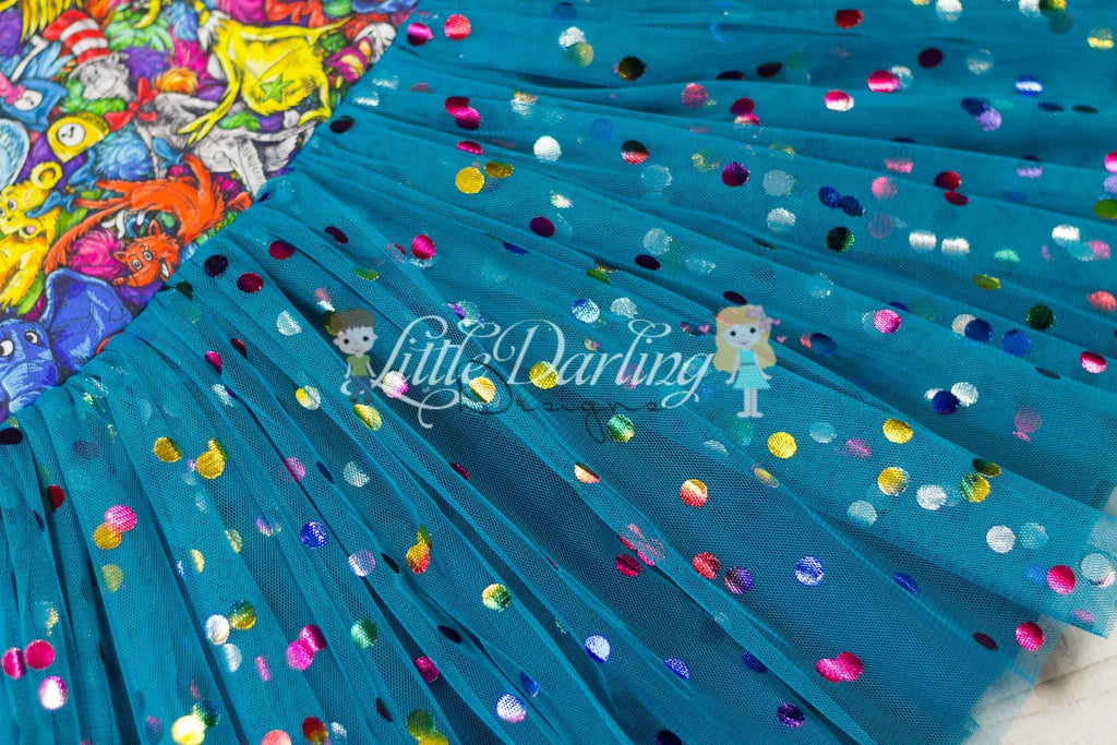 Teal Rainbow Confetti Dot Mesh