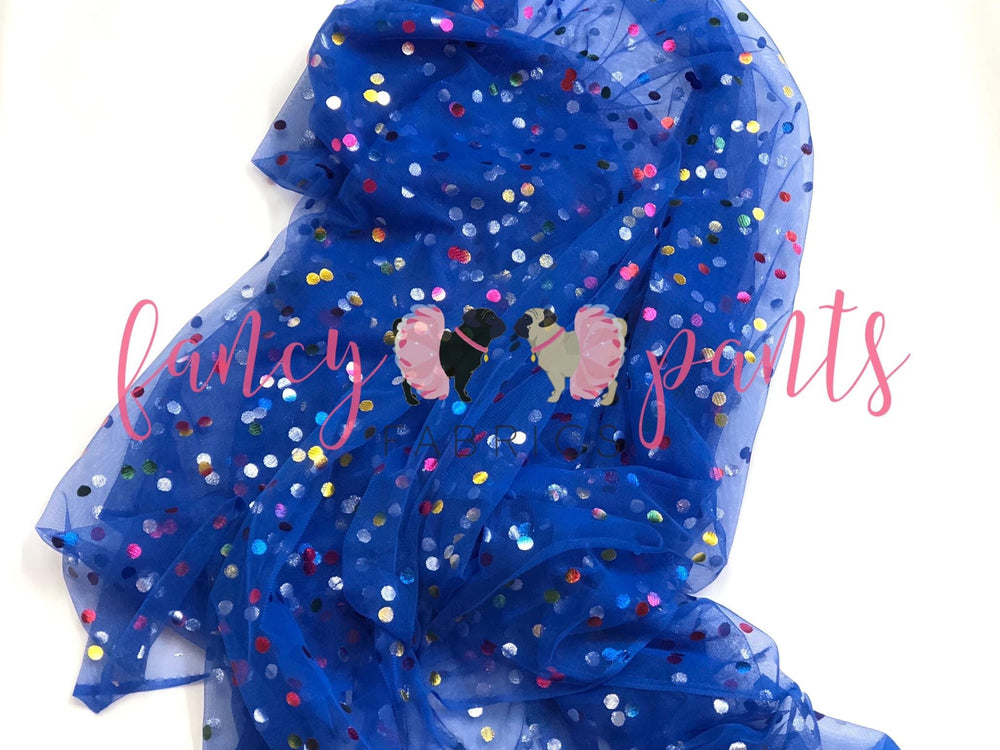 Blue Rainbow Confetti Dot Mesh