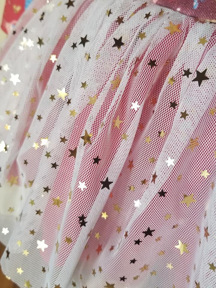 Gold Star Sequin Tulle - Fancy Pants Fabrics