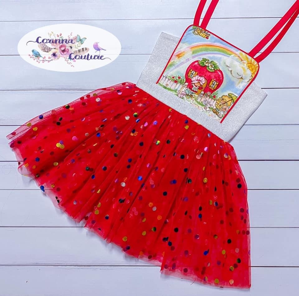 Red Rainbow Confetti Dot Mesh
