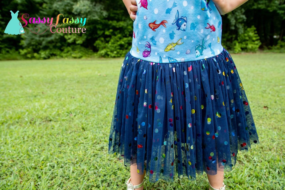 Navy Rainbow Confetti Dot Mesh