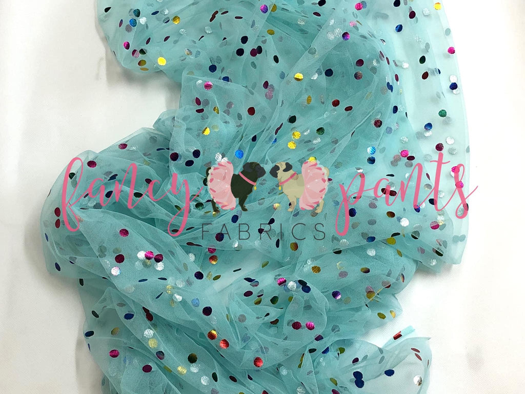 Light Aqua Rainbow Confetti Dot Mesh