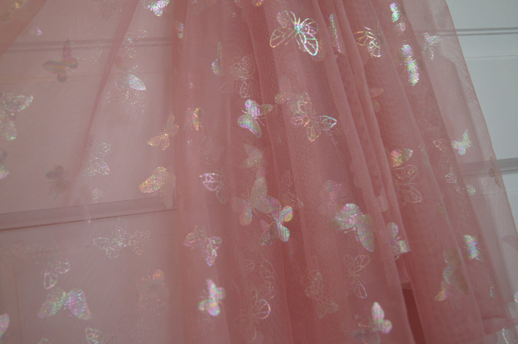 Dusty Rose iridescent Butterfly Mesh