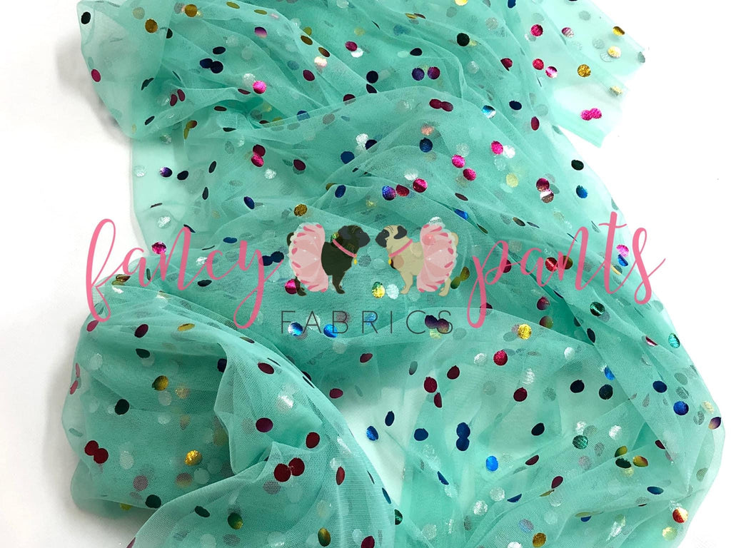Light Mint Rainbow Confetti Dot Mesh