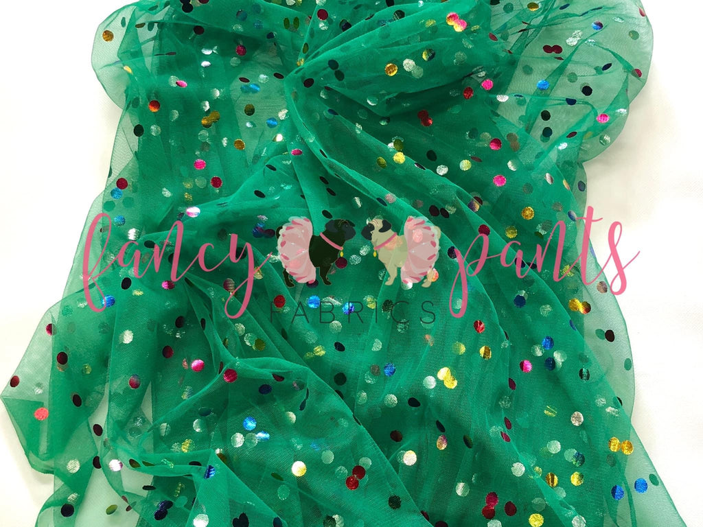 Holiday Green Rainbow Confetti Dot Mesh
