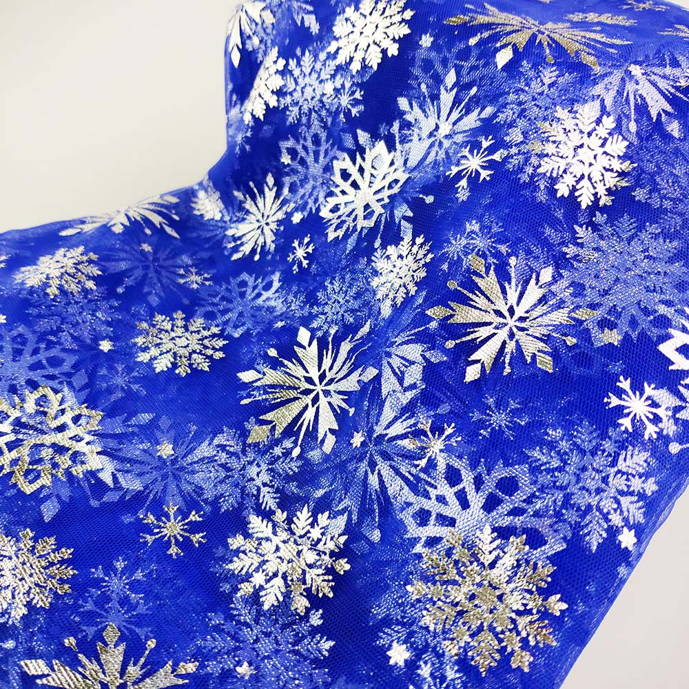 Silver Snowflake on Royal Blue Mesh - ************PRE-ORDER****** - Fancy Pants Fabrics