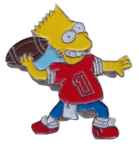 Bart Simpson Football Vintage Pin