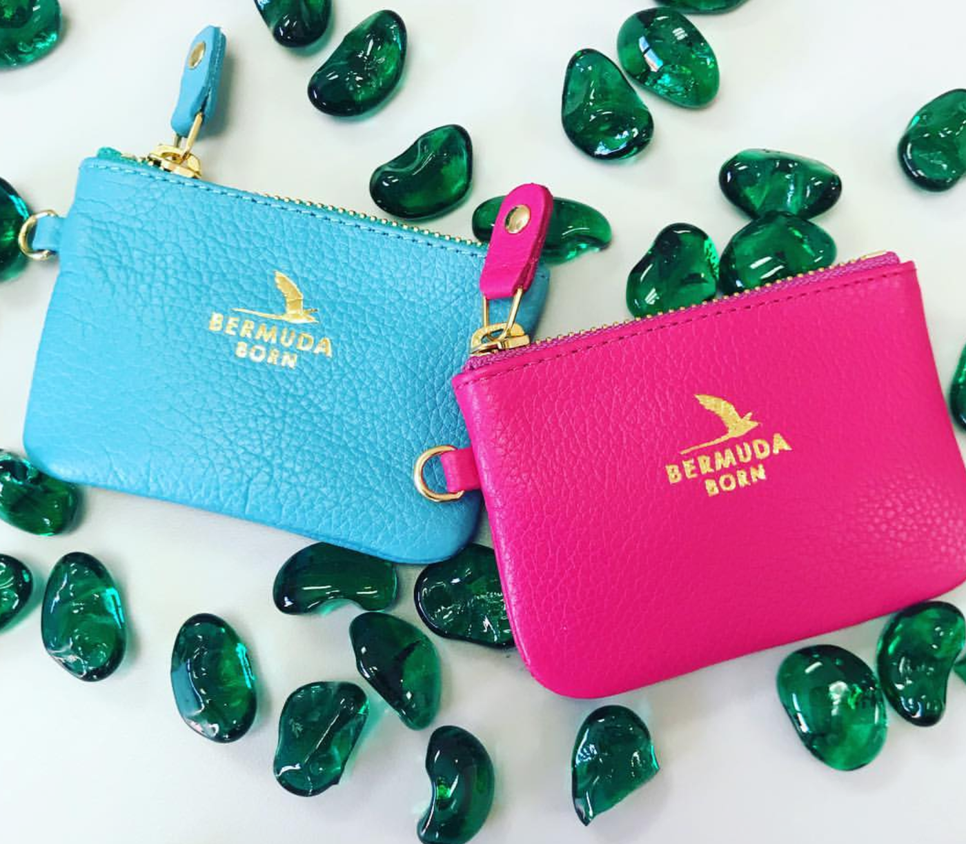 Pink and Aqua Pebble Leather Coin & Card Cases - Bermuda Born