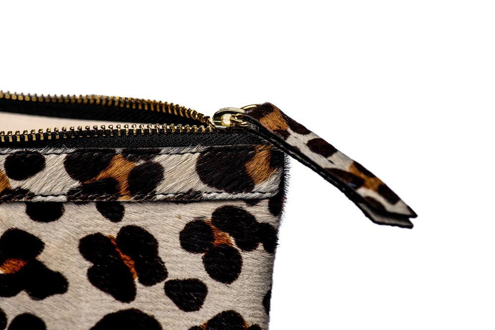 Flatt's Leopard Print Calf Hair Leather Clutch Bag Bermuda Born UK