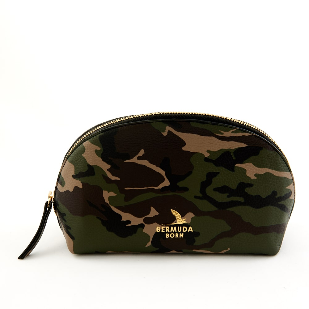 Army Print Leather Bermuda Moongate Toiletry Bag - Bermuda Born