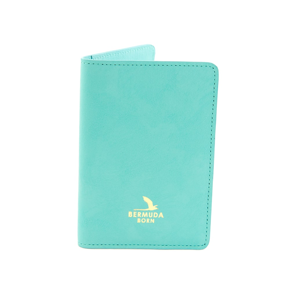Darrells Island aqua smooth leather passport holder UK - Bermuda Born