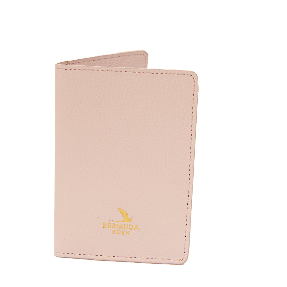 Darrells Island pink smooth leather passport holder UK - Bermuda Born