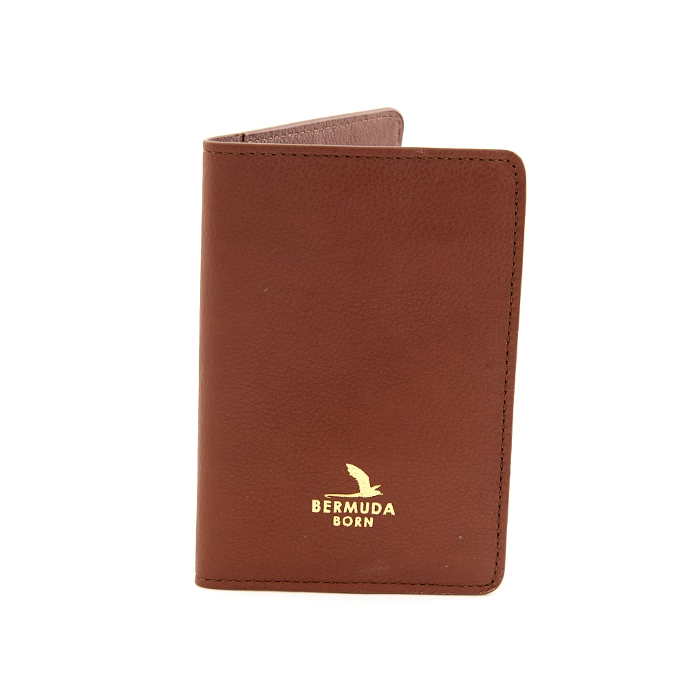 Darrells Island brown smooth leather passport holder UK - Bermuda Born