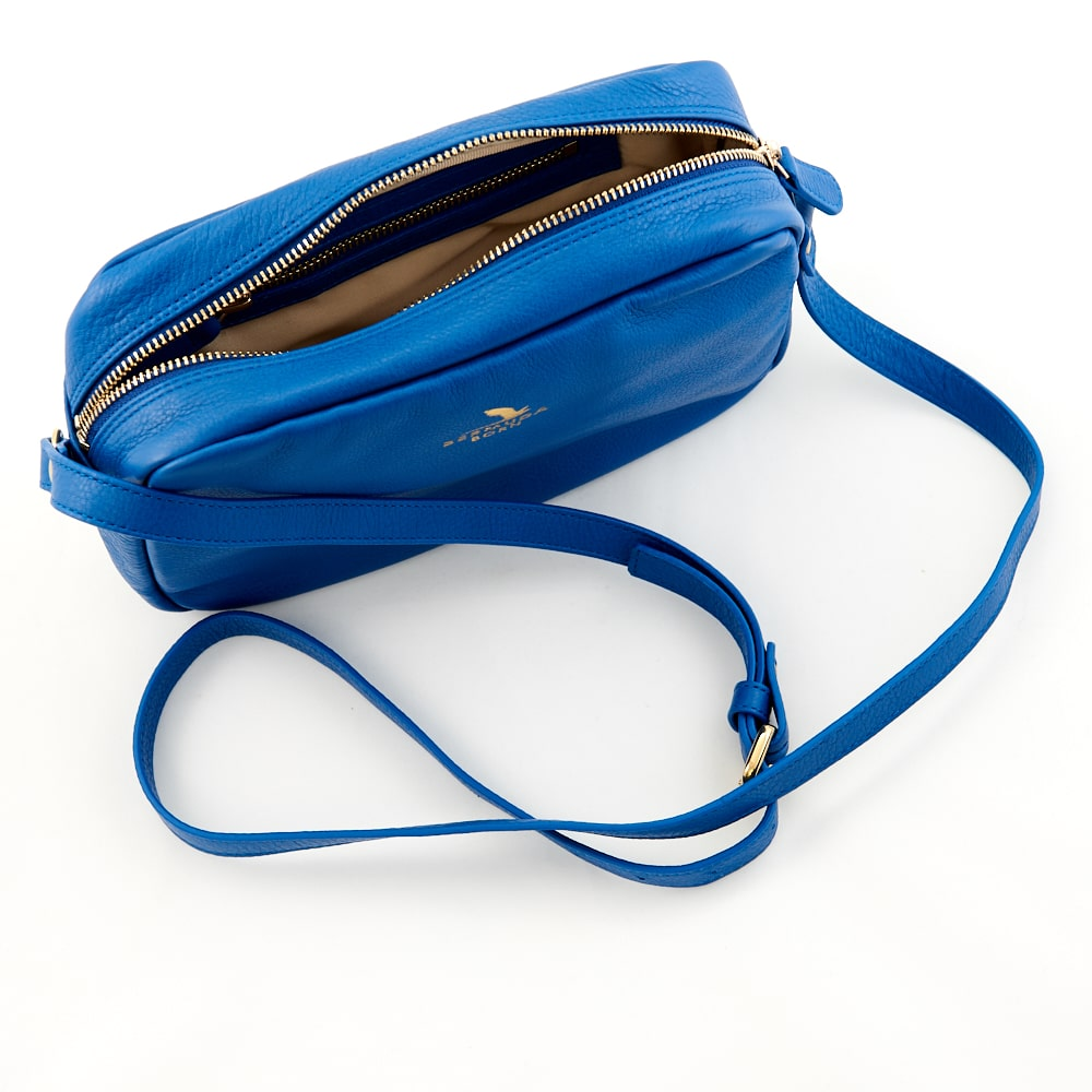 Royal Blue Horseshoe Bay leather Cross Body Bag Bermuda Born