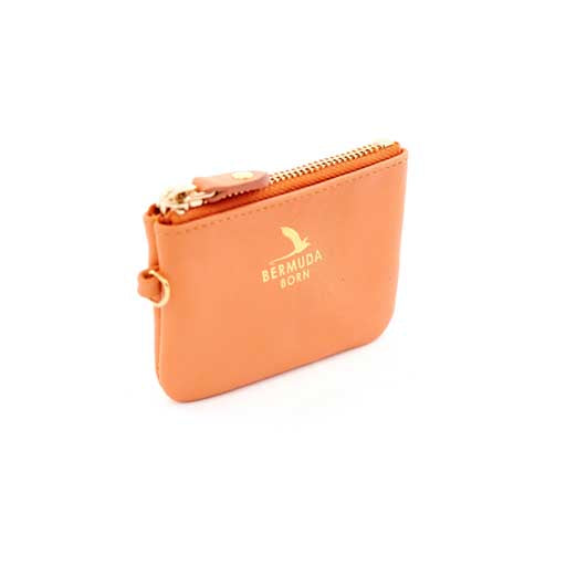 Longtail coral pebble leather Coin and Card Case - Bermuda Born