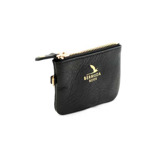 Longtail black leather Coin and Card Case - Bermuda Born