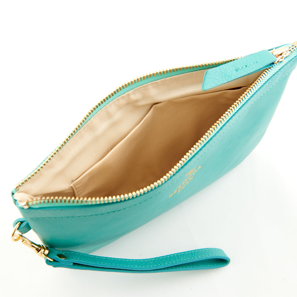 Aqua Soft Leather Clutch Bag Online UK - Bermuda Born