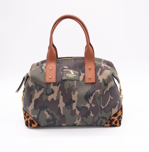 Army Print Collector's Hill Bag with brown leopard