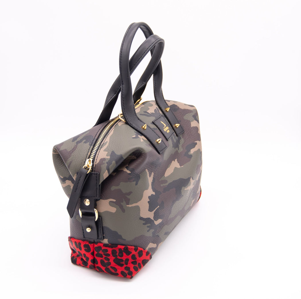 Army Print Collector's Hill Bag with red leopard