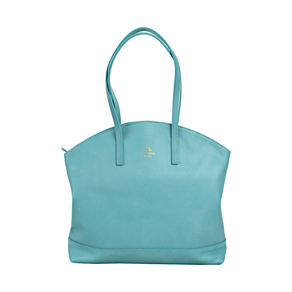 Aqua Large Pebble Leather Warwick Tote Handbag UK - Bermuda Born