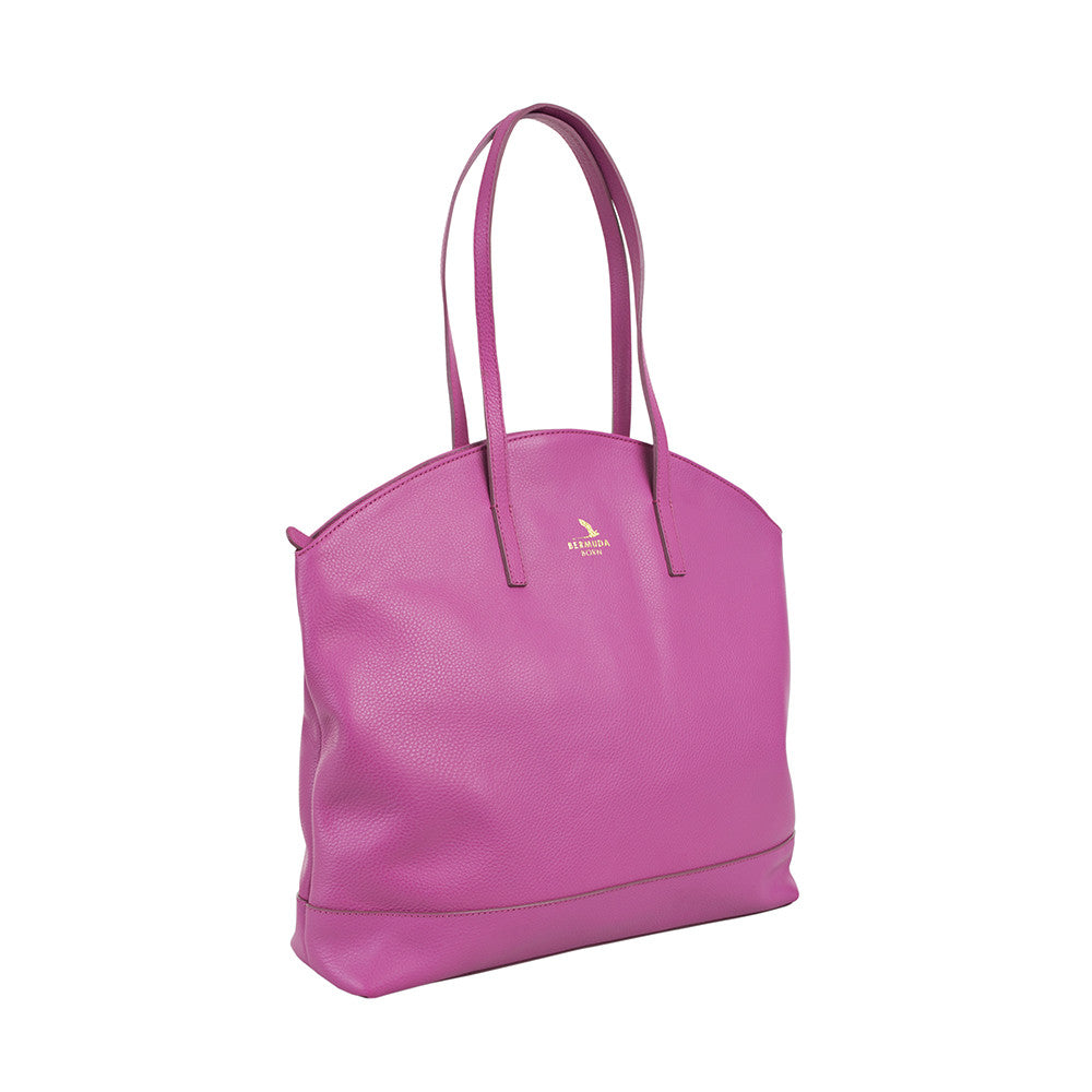 Pink Large Pebble Leather Warwick Tote Handbag UK - Bermuda Born
