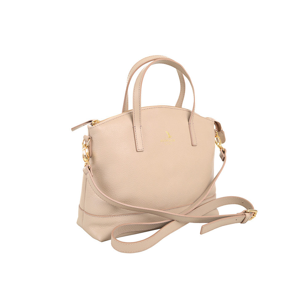 Beige Pebble Leather affordable Handbags UK- Bermuda Born