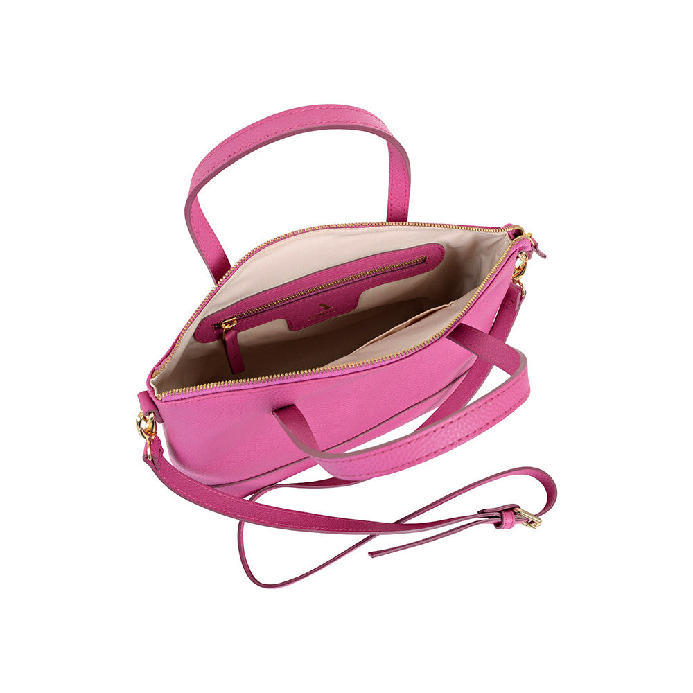 Pink Pebble Leather Paget Purse Handbag UK interior