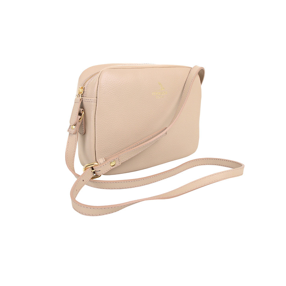 Cream Pebble Leather Crossbody Bag Online UK - Bermuda Born