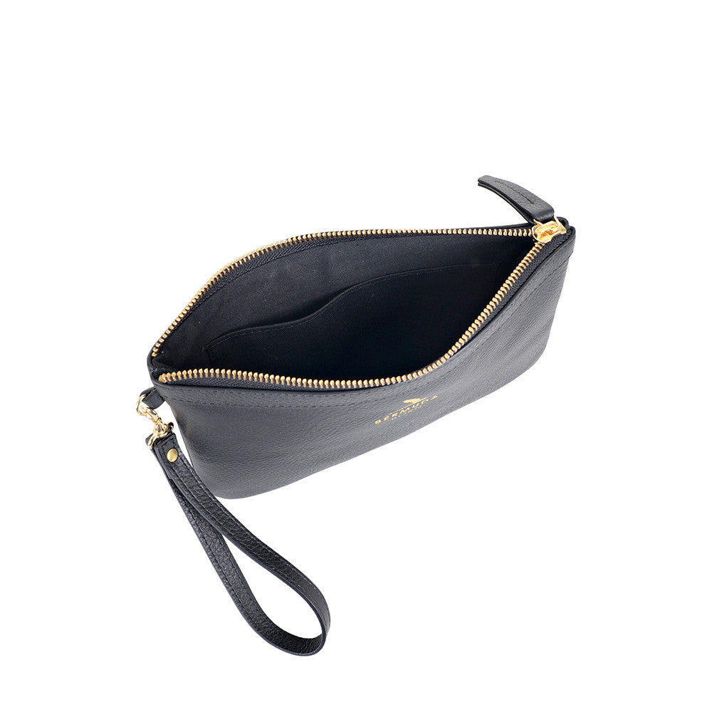Black Pebble Leather Tobacco Bay Clutch Bag UK - Bermuda Born