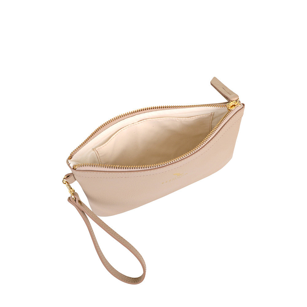 Beige Pebble Leather Tobacco Bay Clutch Bag - Bermuda Born
