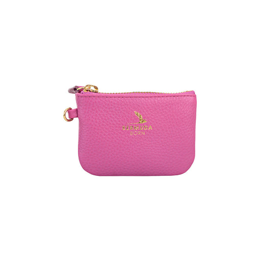 Longtail pink pebble leather Coin and Card Case