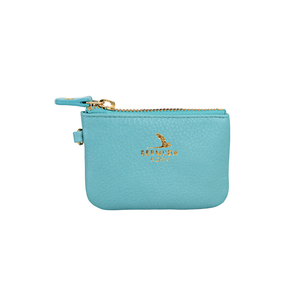 Longtail aqua pebble leather Coin and Card Case - Bermuda Born