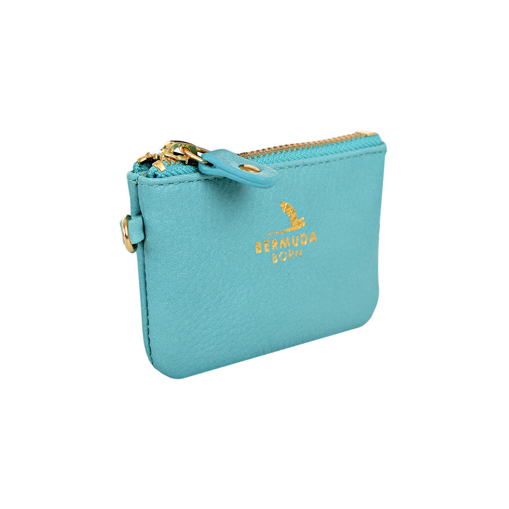 Aqua pebble leather Coin and Card Case online UK