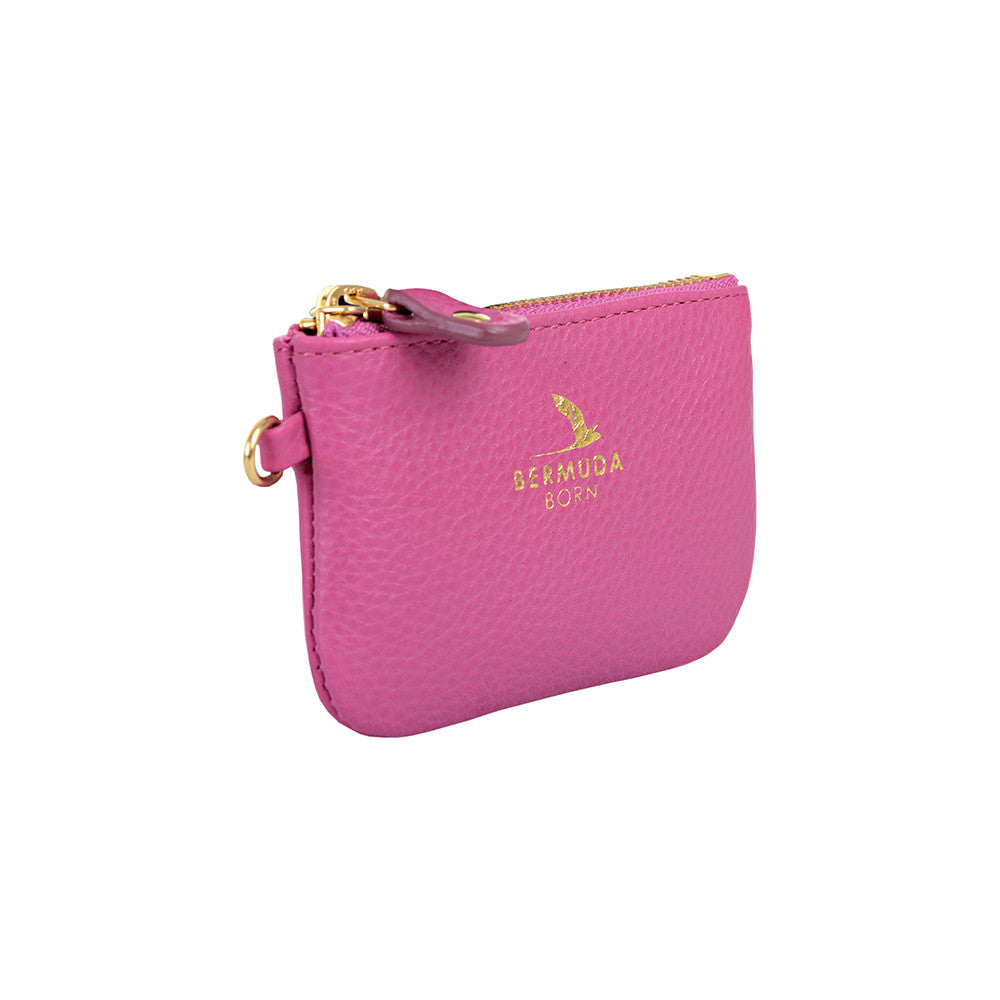 pink pebble leather Coin and Card Case Online UK