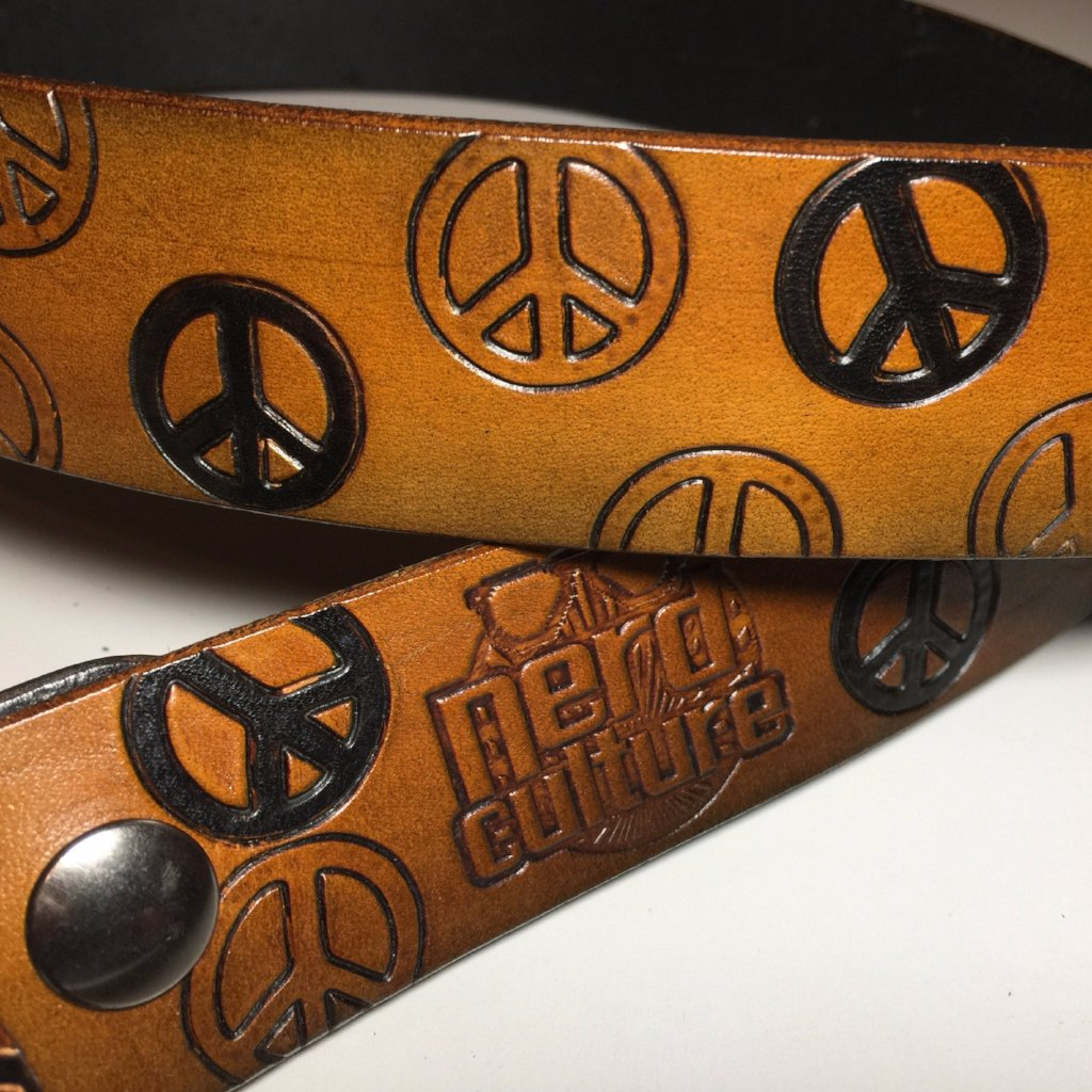 Pattern Stamped Belt with Buckle - Nerd Culture Leather