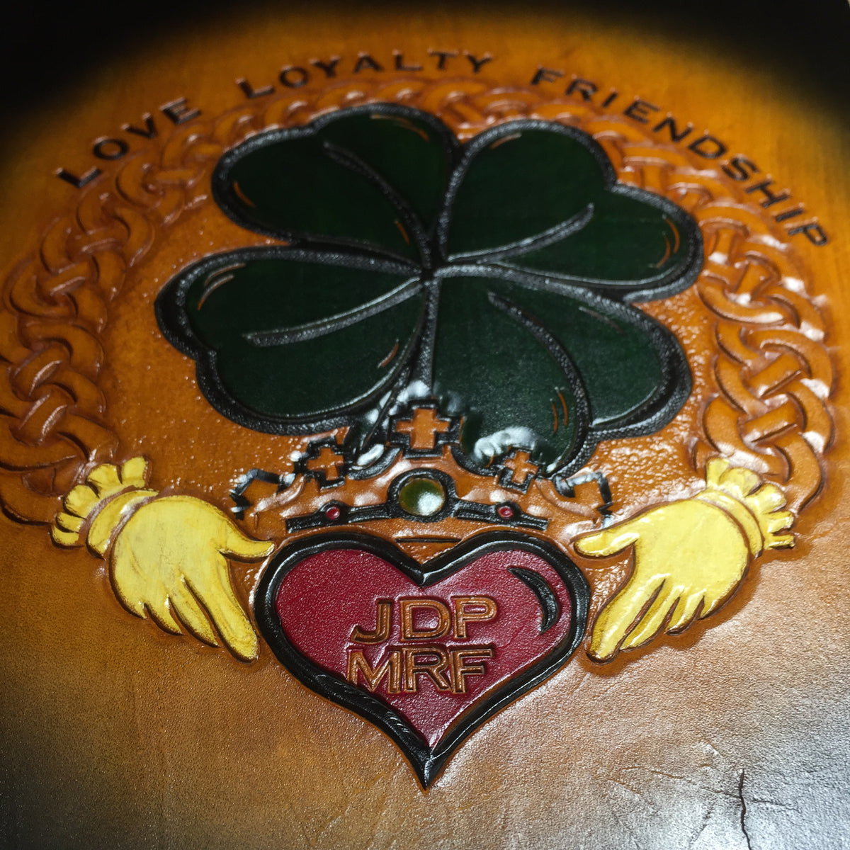 Claddagh Ring- Hand Tooled Wall Art - Nerd Culture Leather