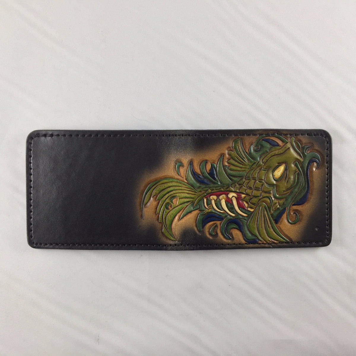 Zombie Koi Fish - Hand Tooled Leather Bifold Wallet - Nerd Culture Leather