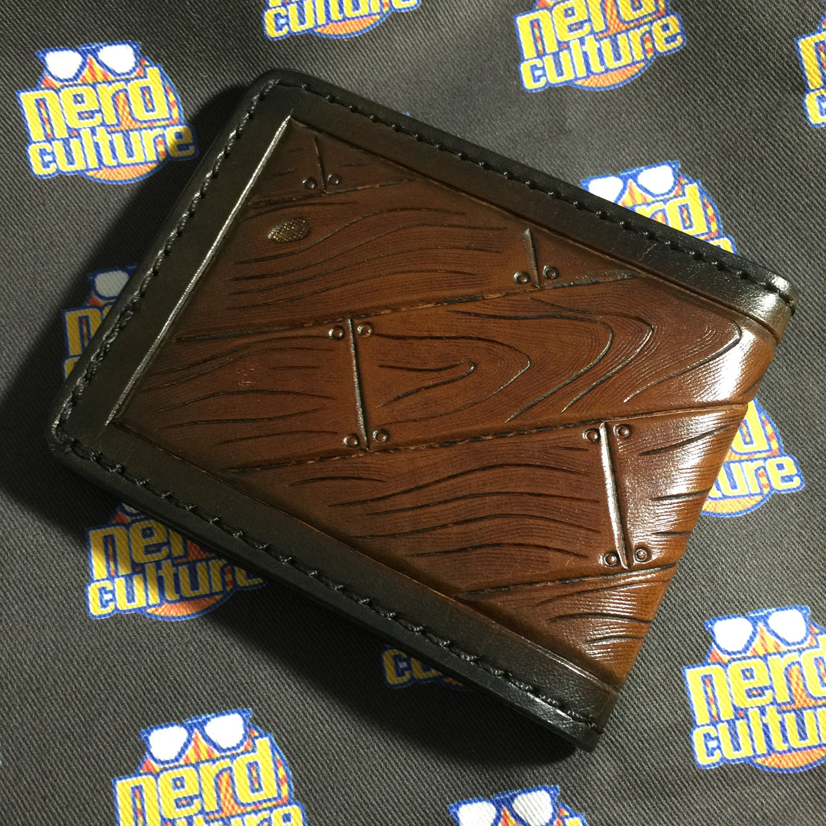 Woodgrain- Hand Tooled Leather Bifold Wallet - Nerd Culture Leather