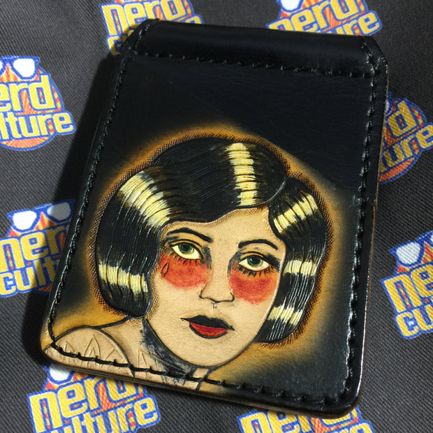 Pinup Girl Tattoo Flash - Custom- Hand Tooled Leather Money Clip Wallet - Nerd Culture Leather